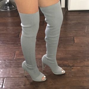 Light grey over the knee boots